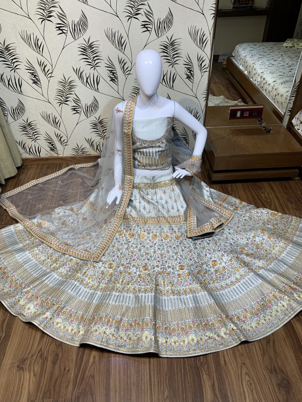 Satin silk Party Wear Lehenga In Ravishing Grey Color With Embroidery Work