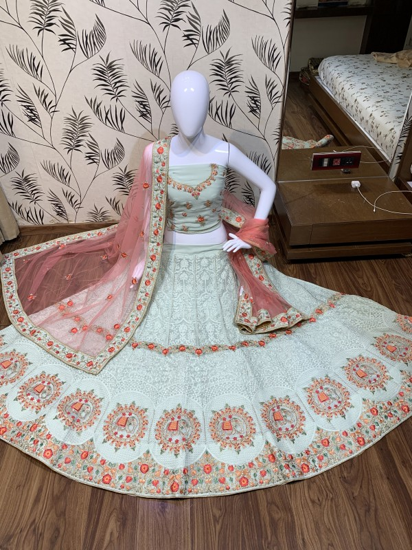 Heavy Georgette Party Wear Lehenga In Light Grey Color With Embroidery Work