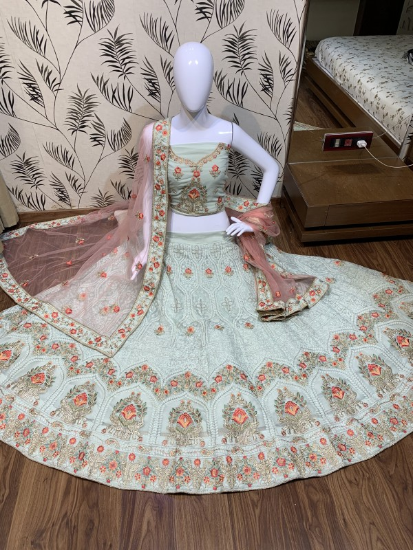Heavy Georgette Party Wear Lehenga In Grey Color With Embroidery Work
