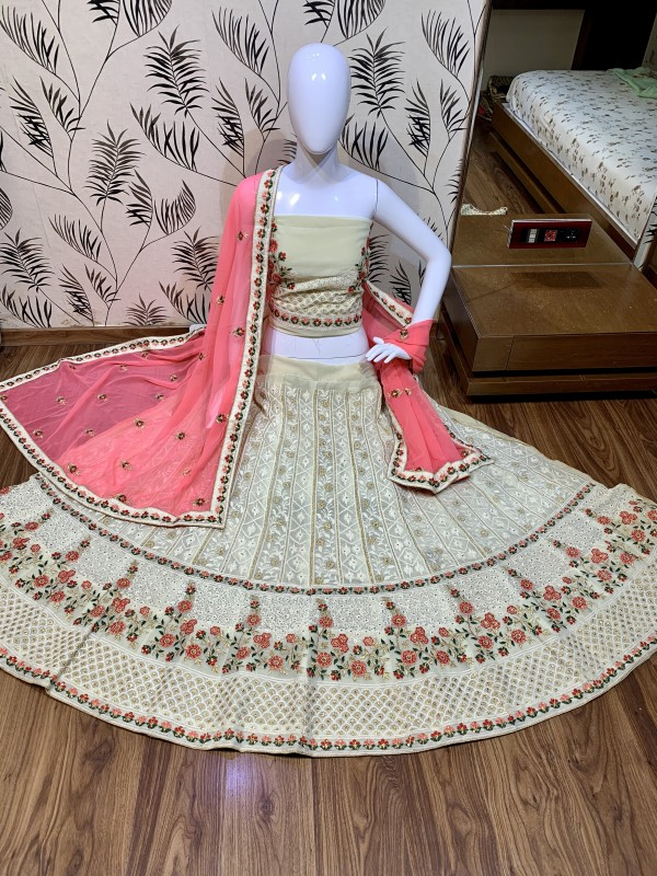Heavy Georgette Party Wear Lehenga In Beige Color With Embroidery Work