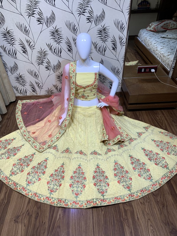 Heavy Georgette Party Wear Lehenga In Light Yellow Color With Embroidery Work