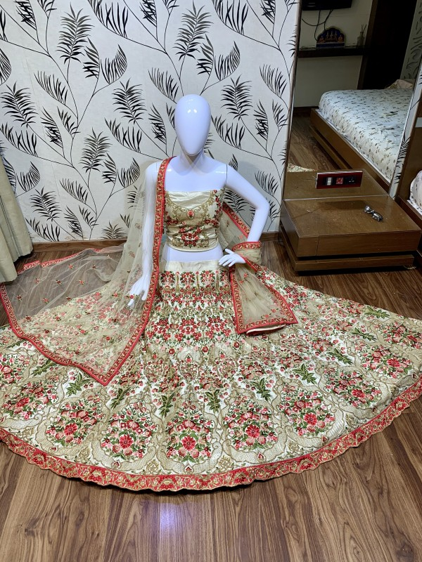 Luxury silk Party Wear Lehenga In Beige Color With Embroidery Work