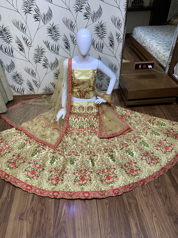 Luxury silk Party Wear Lehenga In Golden Color With Embroidery Work