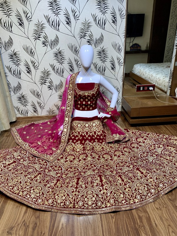 Pure Micro Velvet Wedding Wear Lehenga in Dark Pink color With Embroidery Work & Stone Work