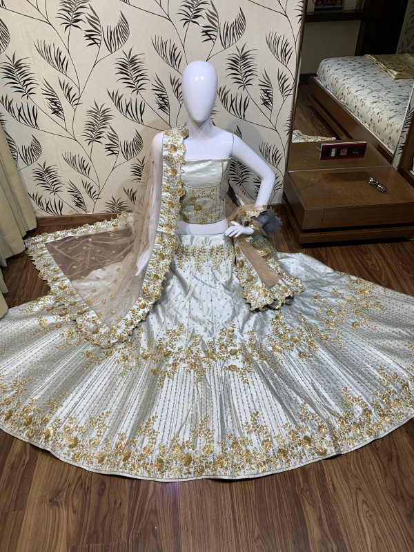 Satin silk Party Wear Lehenga In Light Grey Color With Embroidery Work