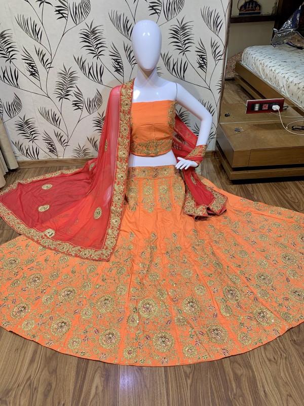 Pure Satin Silk Mehendi Sangeet Lehenga Orange Color With Embroidery Work & Stone Work