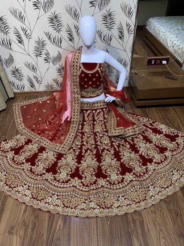Pure Micro Velvet Bridal Wear Lehenga In Red With Jari Work