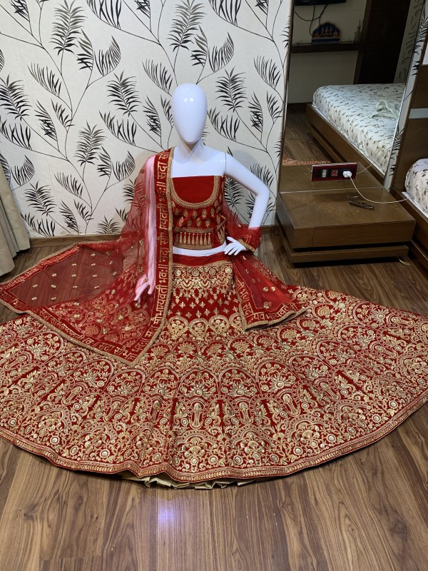 Pure Micro Velvet Bridal Wear Lehenga In Red Color With Embroidery Work & Crystal Stone Work