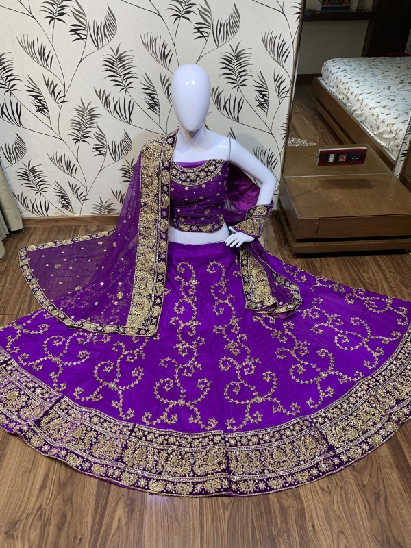 Digital Silk Wedding Wear Lahenga In Purple Color With Hand Work and Stone Work