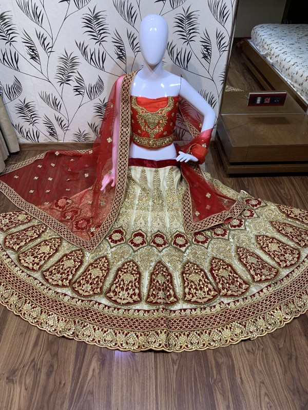 Digital Net Wedding Wear Lahenga In Cream Color With Hand Work and Stone Work