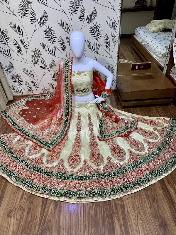 Digital Net Wedding Wear Lahenga In Beige Color With Hand Work and Stone Work