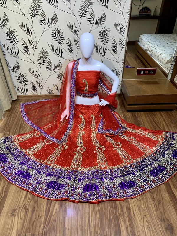 Digital Net Wedding Wear Lahenga In Red Color With Hand Work and Stone Work