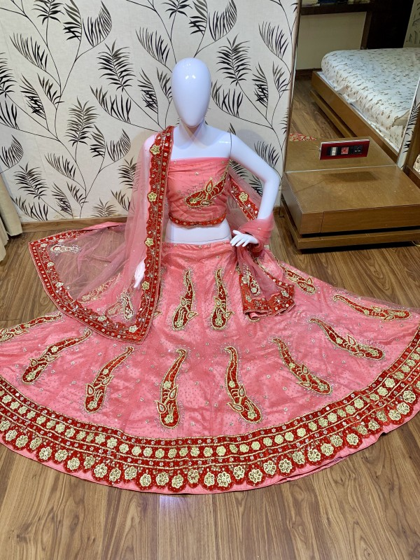 Digital Net Wedding Wear Lahenga In Pink Color With Hand Work and Stone Work