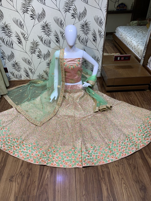 Butter Silk Party Wear Lehenga In Pink With Embroidery & Stone Work