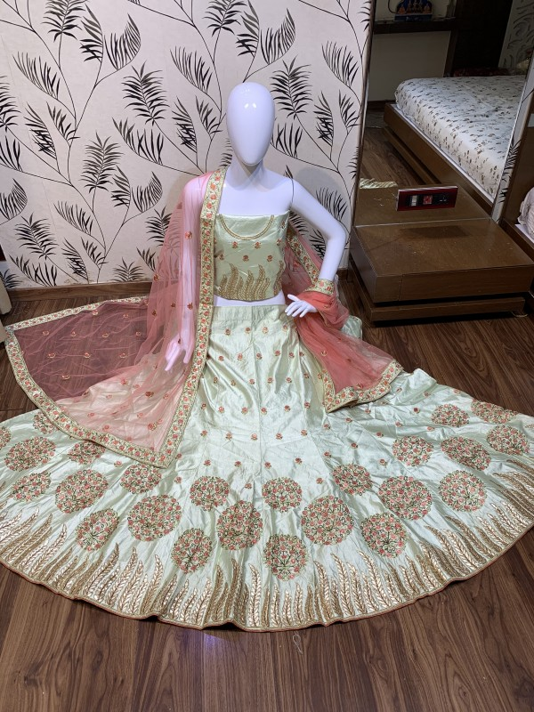 Satin Silk Party Wear Lehenga In Light Green Color With Embroidery Work