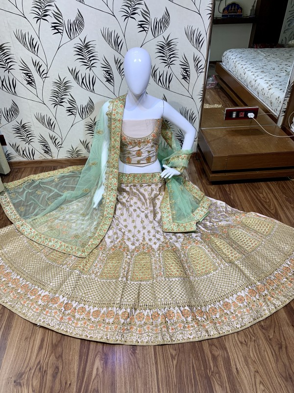Satin silk Party Wear Lehenga In Light Pink Color With Embroidery Work
