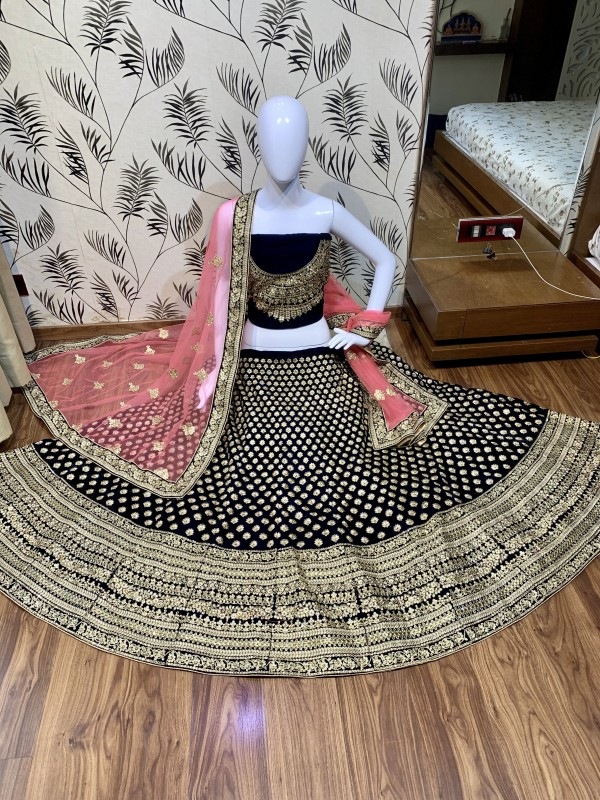 Pure Micro Velvet Wedding Lehenga In Blue Color With  Embroidery Work