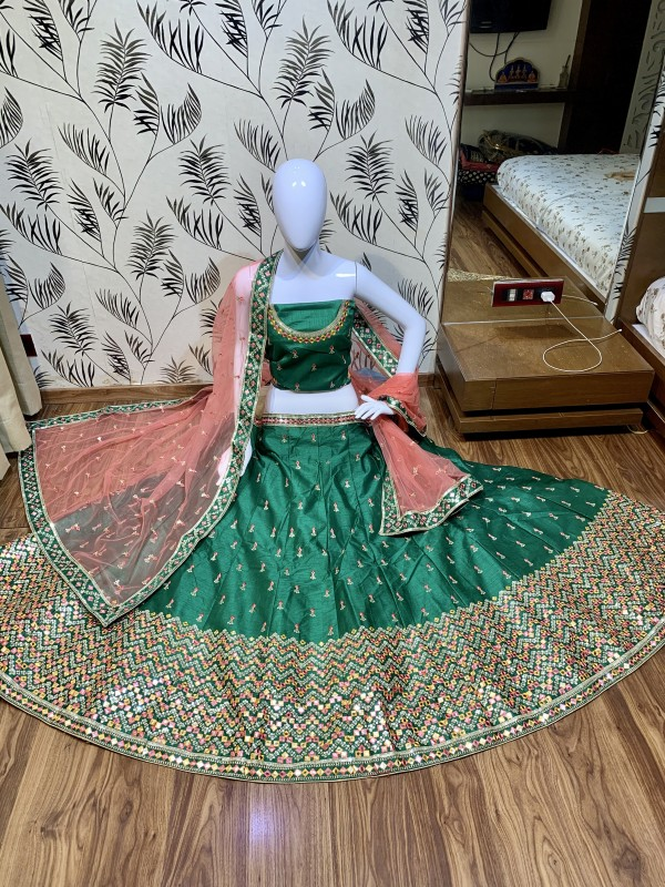 Heritage Silk Party Wear Lehenga In  Green Color With Embroidery Work