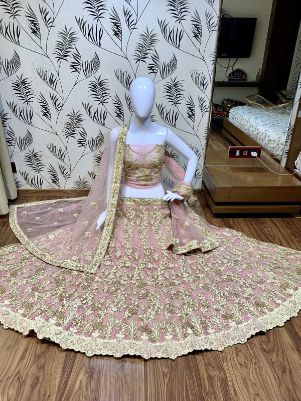 Soft Premium Net Party Wear Lehenga In Pink With Pearl Work