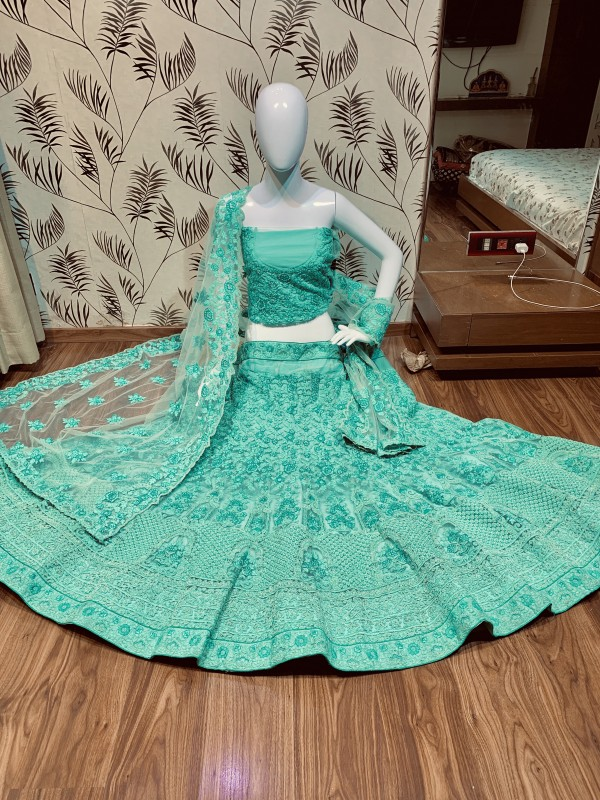 Soft Premium Net Wedding Lehenga In Turquoise With Embroidery Work & Pearl Work