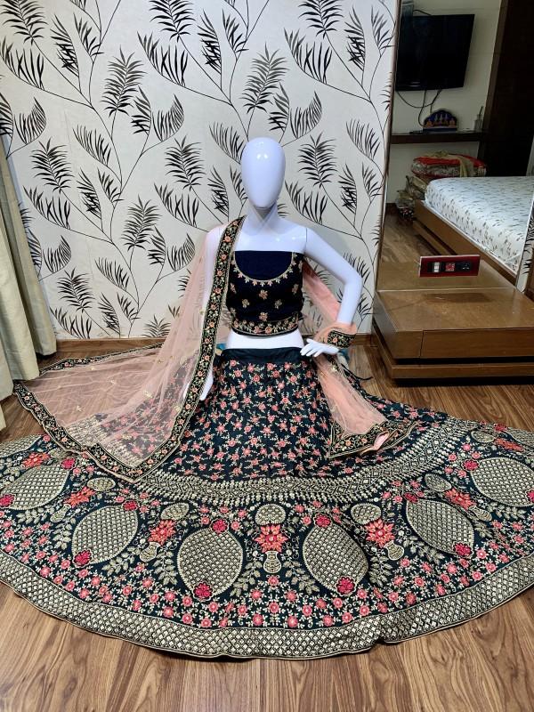 Pure Japan Silk Wedding Wear Lehenga In Blue With Embroidery Work & Hand Work