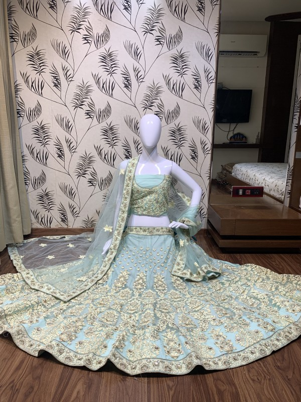 Soft Premium Net Party Wear Lehenga In Grey With Embroidery & Pearl Work