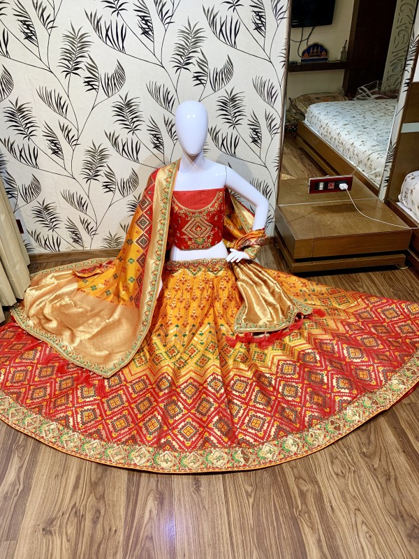 Pure Banarasi Silk Wedding Lehenga in Red & Mustard  With Embroidery  work