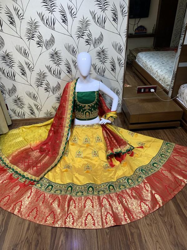 Pure Banarasi Silk Wedding Lehenga in  Yellow & Green  With Embroidery  work