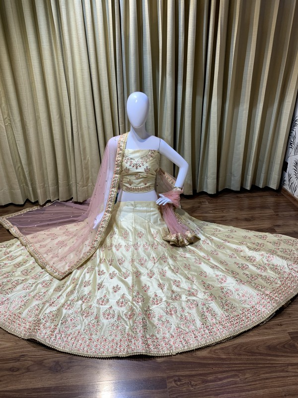 Satin Silk Party Wear Lehenga In creme Color With Embroidery Work