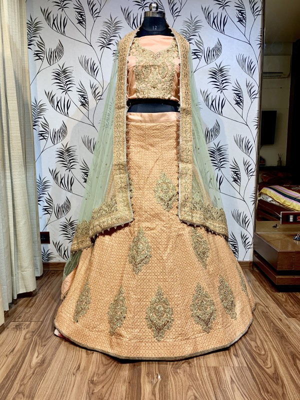 Pure Satin Silk Party Wear Lehenga in Peach Color With Embroidery Work