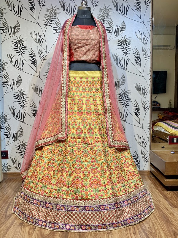 Handloom Wedding Lehenga in Yellow With Embroidery & Crystals Stone Work