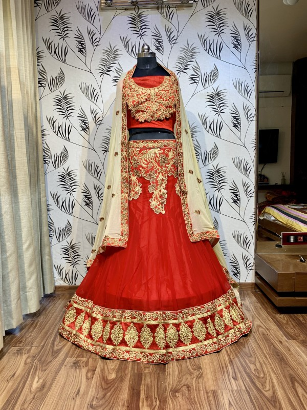 Soft Premium Net Mehendi Sangeet Lehenga Red Color With Embroidery Work & Stone Work