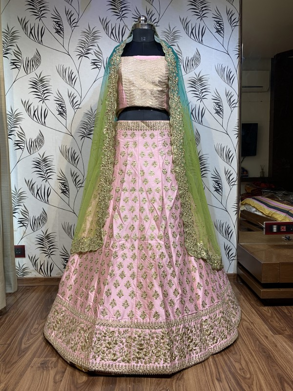 Pure Satin Silk Reception Lehenga in Pink Color With Thread work