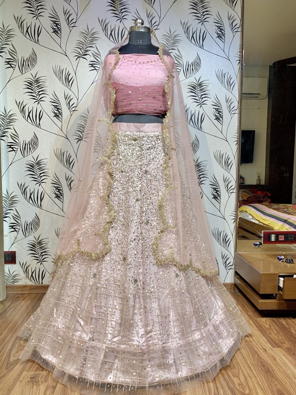 Soft Premium Net Wedding Wear Lehenga In Pink With Sequence & Stone Work