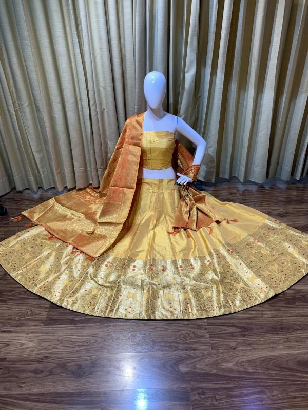 Pure Banarasi Silk Traditional Wear Lehenga In Mustard Color