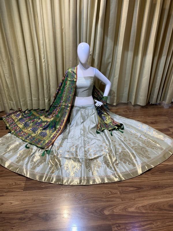 Pure Banarasi Silk Traditional Wear Lehenga In Light Grey Color