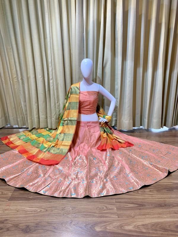 Pure Banarasi Silk Traditional Wear Lehenga In Pink Color