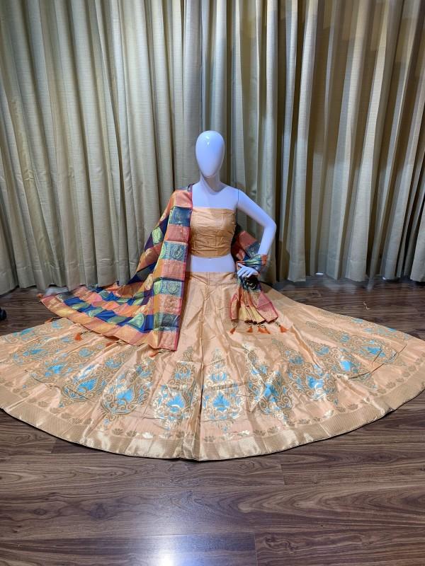 Pure Banarasi Silk Traditional Wear Lehenga In Peach Color