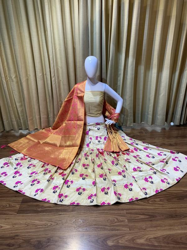 Pure Banarasi Silk Traditional Wear Lehenga In Cream Color