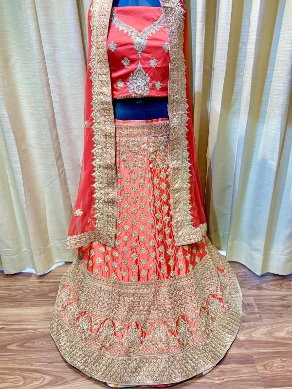 Pure Satin Silk Wedding Lehenga In Red With Jari & Crystal Stone Work