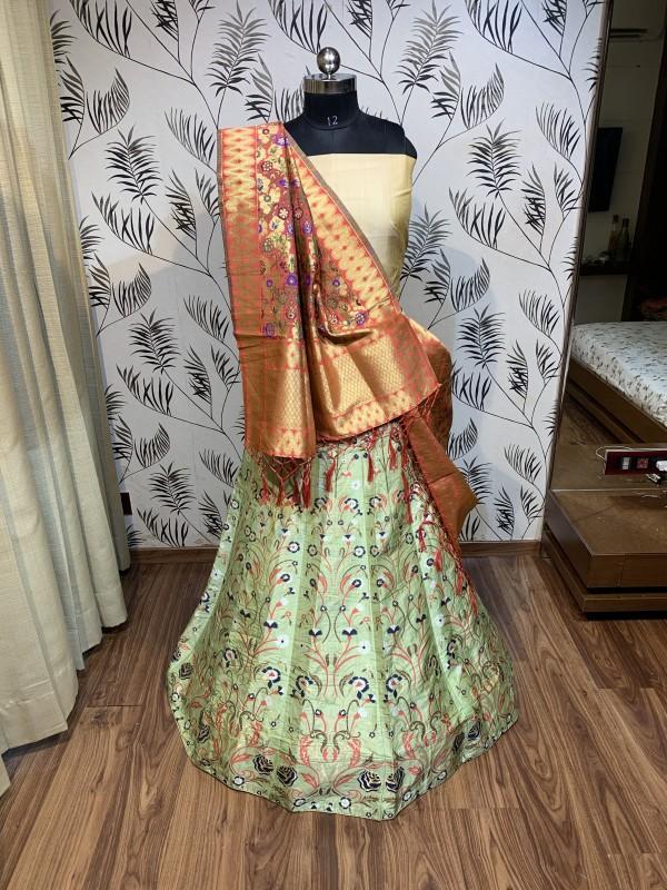 Pure Banarasi Silk Traditional Wear Lehenga In Light Green Color