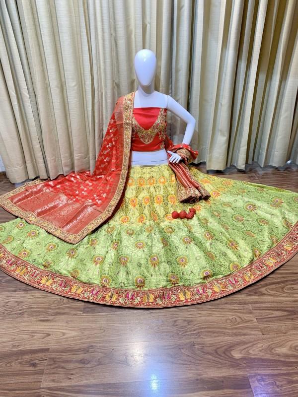 Pure Banarasi Silk Bridal Lehenga In Green With Embroidery Work