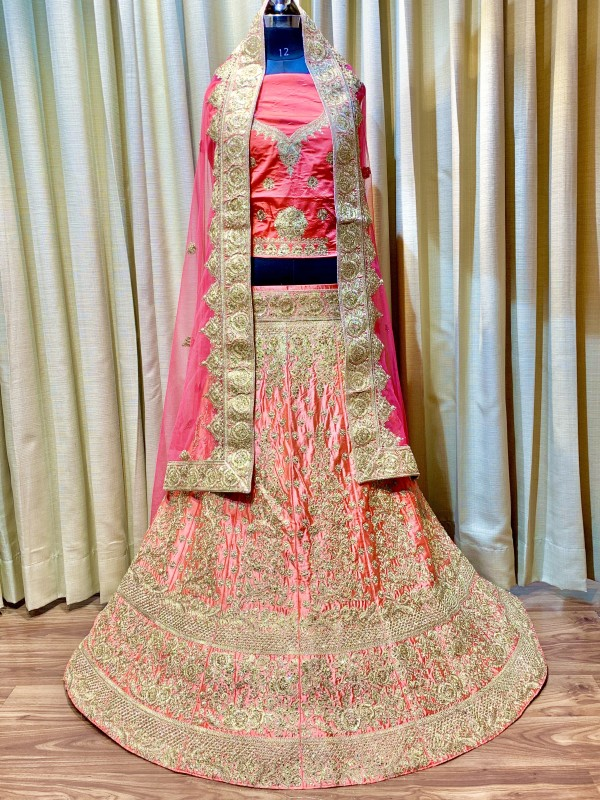 Pure Satin Silk Wedding Lehenga In Pink With Embroidery Work