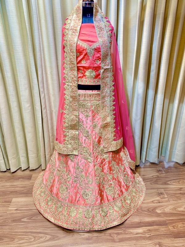 Pure Satin Silk Wedding Lehenga In Pink Color With Jari & Crystal Stone Work