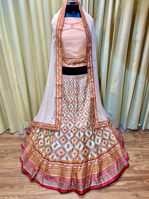 Pure Natural Silk Party Wear Lehenga In Beige WIth Digital Print Work & Stone Work