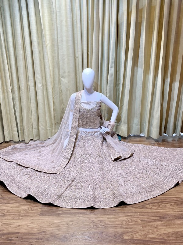 Pure Silk Bridal Wear Lehenga In Beige With Embroidery  work
