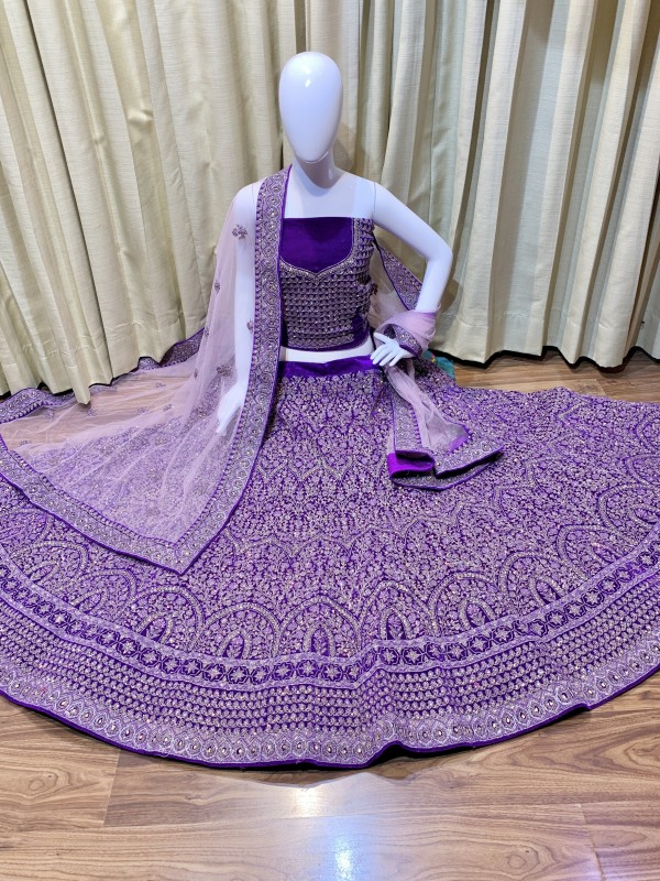 Pure Micro  Velvet Bridal Wear Lehenga In Purple Color With Embroidery Work