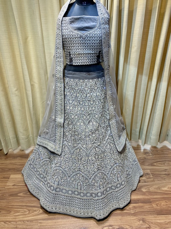 Pure Silk Bridal Wear Lehenga In Dark Grey With Embroidery  work