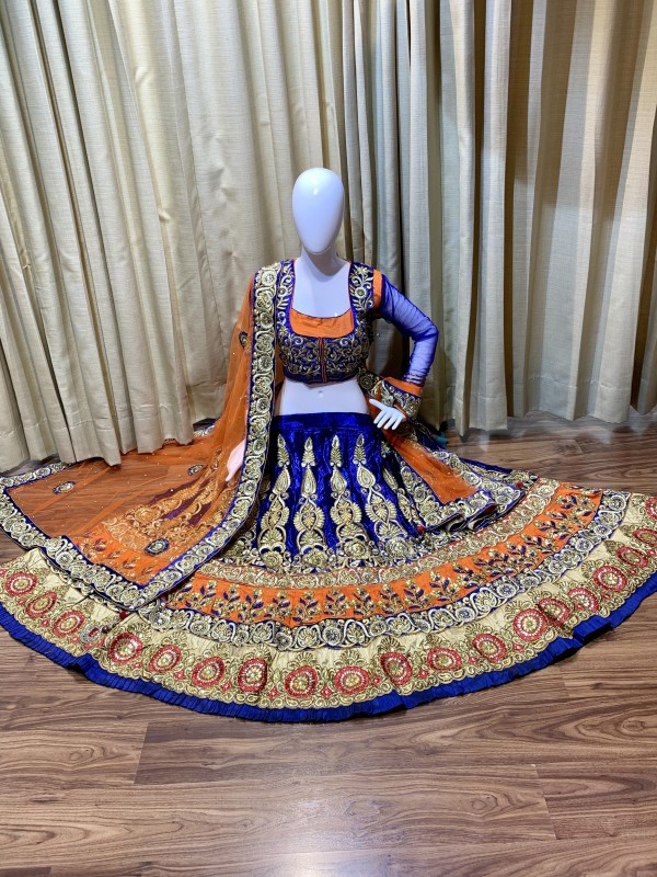 Pure Micro Velvet Party Wear Lehenga In Blue Color With Embroidery Work & Stone Work