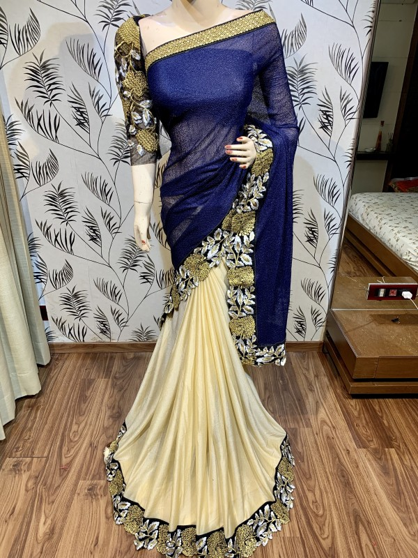 Fancy Imported Party Wear Saree In Blue&Beige With Embroidery Work & Crystals Stone Work